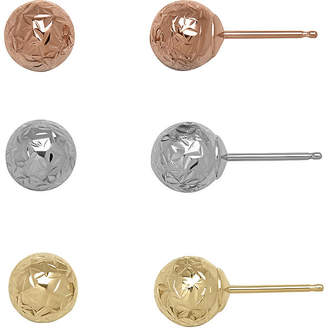 FINE JEWELRY 14K Tri-Tone Gold Textured 3-pr. Ball Stud Earring Set