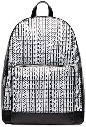 Balmain black and white logo leather backpack