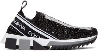 Dolce & Gabbana Black Crystal Sorrento Slip-On Sneakers