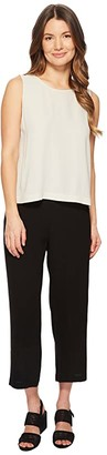 Eileen Fisher Petite Silk Georgette Crepe Straight Cropped Pants