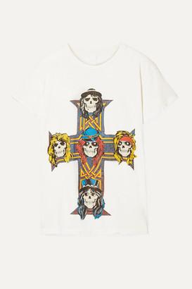 MadeWorn Guns N' Roses Distressed Printed Cotton-jersey T-shirt - Cream