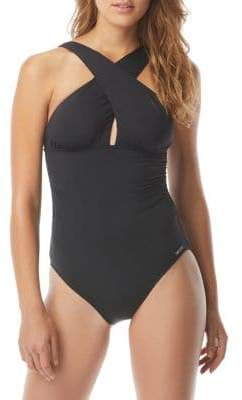 MICHAEL Michael Kors High Neck Shirred One-Piece Swimsuit