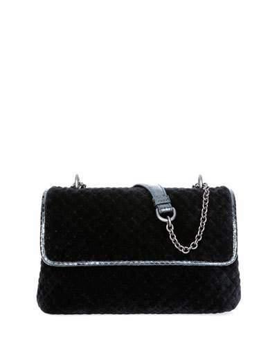 Bottega VenetaBottega Veneta Olimpia Intrecciato Quilted Velvet Shoulder Bag, Black