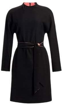 Emporio Armani Contrast High Neck Belted Dress