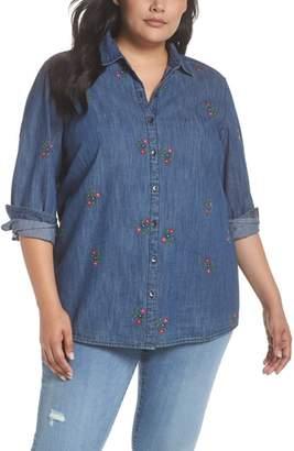 Caslon Embroidered Denim Shirt
