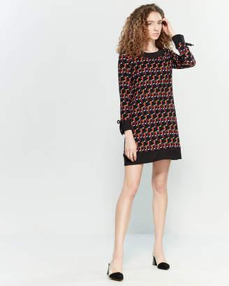 Yumi Black Geometric Print Shift Dress