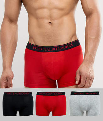 Polo Ralph Lauren 3 Pack Trunks In Black/Red/Grey Marl