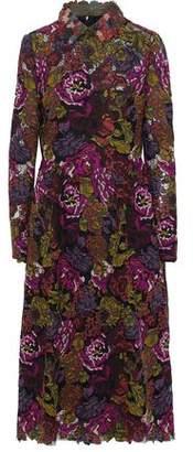 Valentino Appliquéd Leather-Trimmed Cotton-Blend Guipure Lace Midi Dress
