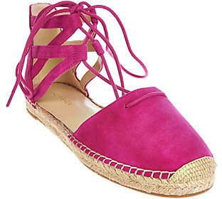 Marc Fisher Leather Lace-up Espadrilles -Misses