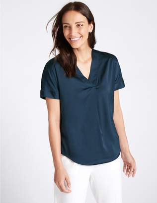 Marks and Spencer V-Neck Short Sleeve Blouse