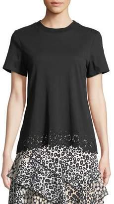 Derek Lam 10 Crosby Short-Sleeve Crossover-Back Cotton Tee w/ Eyelet Embroidery