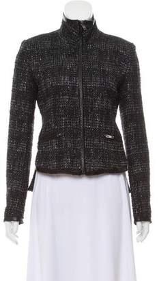 Theyskens' Theory Leather Trim Tweed Jacket