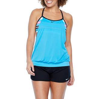 Nike Striped Blouson Swimsuit Top