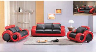 Hokku Designs Hematite Leather Configurable Living Room Set
