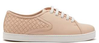 Bottega Veneta Intrecciato Leather Trainers - Womens - Light Pink