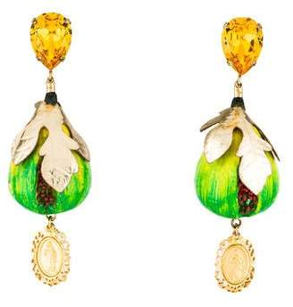Pre Owned At Therealreal Dolce Gabbana Crystal Fig Drop Earrings