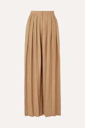 MATÉRIEL Triple Pleat Wool-blend Wide-leg Pants - Beige