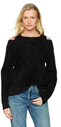 Michael Stars Women's Fluffy Knit Long Sleeve Crew Neck with Shoulder Slits
