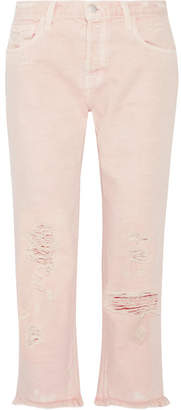 J Brand - Ivy Cropped Distressed High-rise Straight-leg Jeans - Pastel pink $230 thestylecure.com