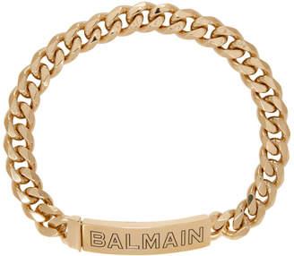 Balmain Gold Logo Chain Choker Necklace