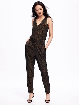 Patterned V-Neck Jumpsuit for Women $39.94 thestylecure.com