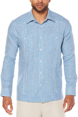Cubavera 100% Linen Long Sleeve Gingham 2 Pocket Guayabera