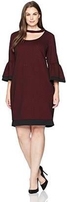 Julian Taylor Women's Plus Size Full Figured Printed 3/4 Bell Sleeve Gigi Neckline Dress