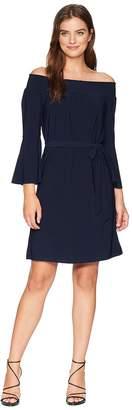 Tahari ASL Off the Shoulder Long Bell Sleeve Shift Women's Dress