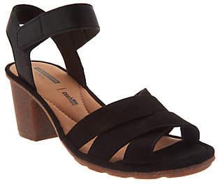 Clarks Leather Two-Piece Mid-Heel Sandals -Sashlin Jeneva