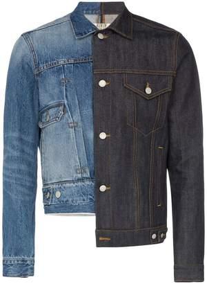 Nounion Drifter two tone asymmetric denim jacket