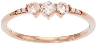 Lauren Conrad 10k Rose Gold Morganite & Diamond Accent 3-Stone Ring
