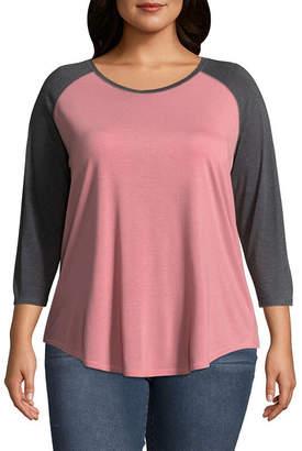 Boutique + + 3/4 Raglan Sleeve T-Shirt - Plus