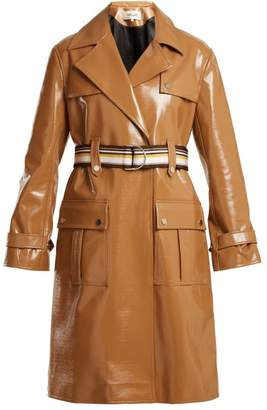 Diane von Furstenberg Contrast Belt Vinyl Trench Coat - Womens - Tan