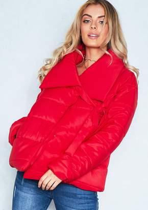 Missy Empire Missyempire Chloe Red Tie Neck Puffer Jacket