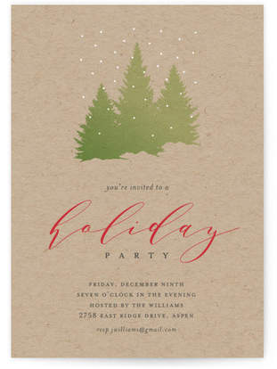 Falling Snow Holiday Party Invitations