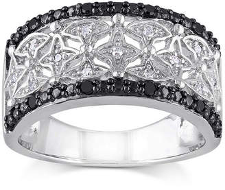 Black Diamond FINE JEWELRY 1/7 CT. T.W. White and Color-Enhanced Two-Tone Sterling Silver Ring