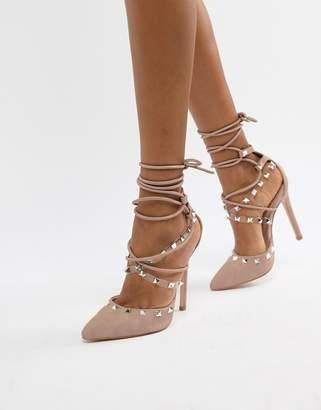 Public Desire Gosh blush studded heeled shoes