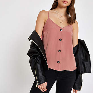 River Island Womens Pink button front cami top