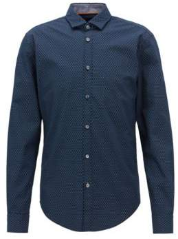 BOSS Hugo Slim-fit shirt in flower-print cotton voile S Open Blue