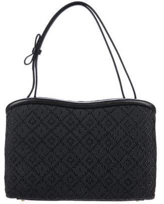 Judith Leiber Leather-Trimmed Jacquard Handle Bag