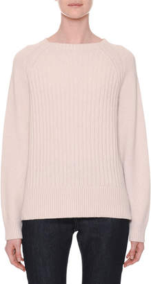Tomas Maier Crewneck Long-Sleeve Ribbed Cashmere Sweater