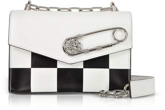 Versace Versus Optic White/Black Checkerboard Print Leather Shoulder Bag w/Safety Pin