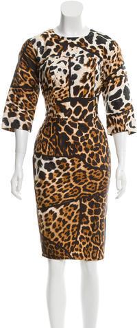 Saint LaurentYves Saint Laurent Leopard Print Short Sleeve Dress