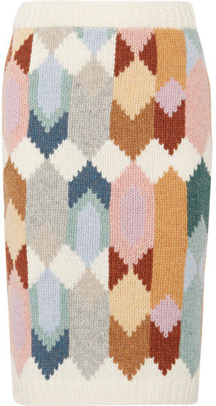 Prada - Intarsia Wool Midi Skirt - Beige