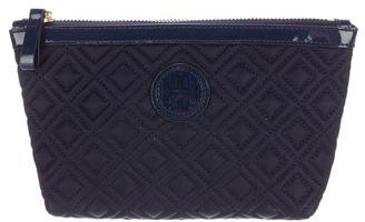 Tory Burch Tory Burch Leather-Trimmed Nylon Cosmetic Bag
