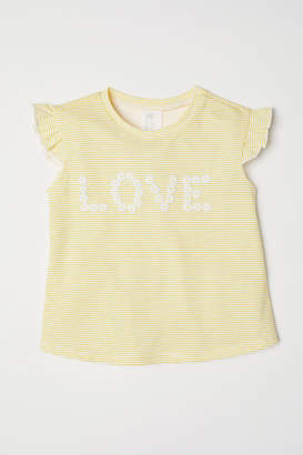 H&M Short-sleeved Jersey Top - Yellow