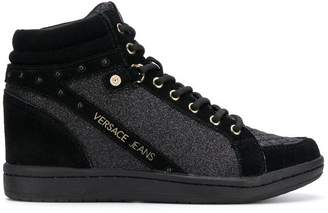 Versace glitter quilted hi-top sneakers