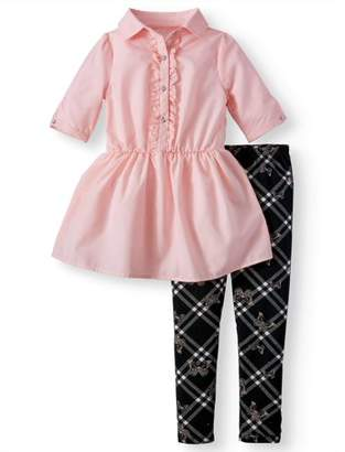 ONE STEP UP Poplin Peplum Shirtdress & Printed Legging, 2-Piece Outfit Set (Little Girls & Big Girls)