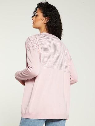 Very Mesh Panel Edge To Edge Cardigan - Blush Pink