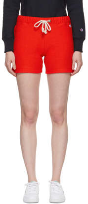 Champion Reverse Weave Red Small Logo Shorts